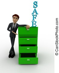 3d man with green safe drawer concept