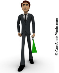 3d man with green shopping concept