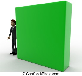 3d man with green wall concept