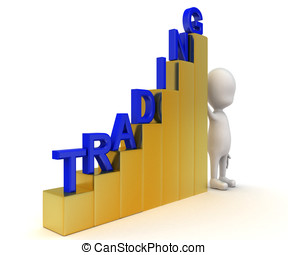 3d man with growth graph of trading concept