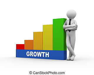 3d man with growth growing business bars