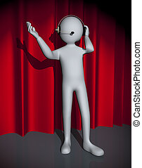 3d man with headphone singing