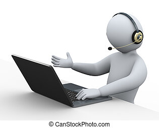 3d man with headphone using laptop