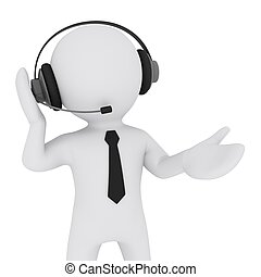 3D man with headset talking over the phone