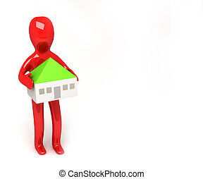 3d man with house in heands