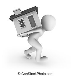 3d man with house on his back.