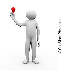 3d man with idea bulb