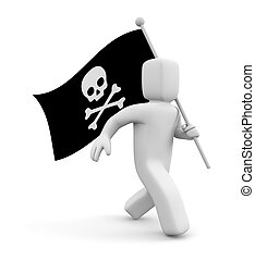 3d man with Jolly Roger flag. Isolated on white