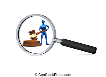 3d man with judicial gavel in the magnifier - 3d blue man...