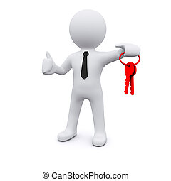 3D man with keys - 3D man standing and holding red keys