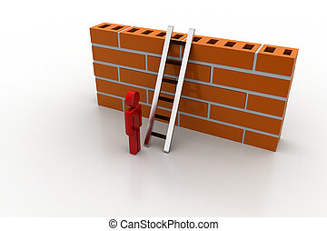 3d man with ladder behind the wall