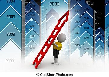 3d man with ladder