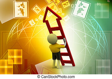 3d man with ladder