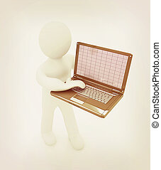 3d man with laptop . 3D illustration. Vintage style.
