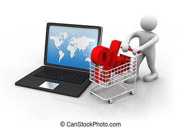 3d man with laptop and percentage symbol. Online shopping