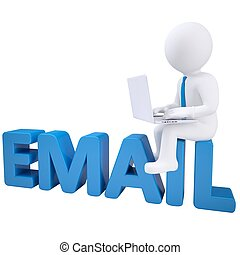 3d man with laptop sitting on EMAIL. Isolated render on a...