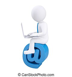 3d man with laptop sitting on the email icon. Isolated...