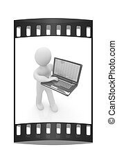 3d man with laptop. The film strip