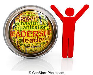 3d man with Leadership wordcloud