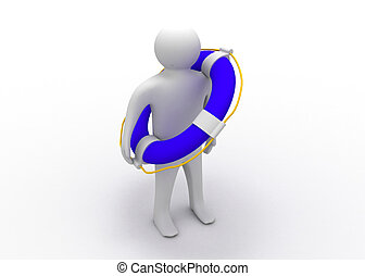 3d man with life preserver