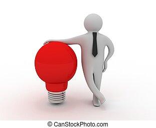 3d man with light bulb