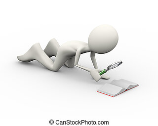 3d man with looking at small book