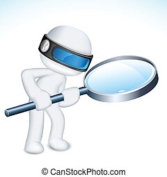 3d Man with Maghifying Lens - illustration of 3d man in...
