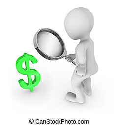 3d man with magnifying glass looks at dollar symbol.