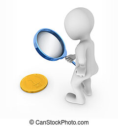 3d man with magnifying glass looks at gold coin on a floor.
