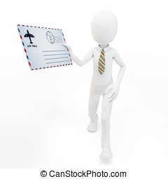 3d man with mail envelope