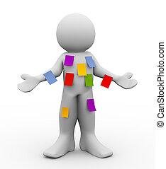 3d man with many sticky empty notes - 3d illustration of ...