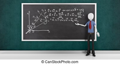 3d man with mathematic equations on a blackboard