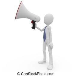 3d man with megaphone speaking loud