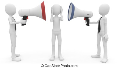 3d man with megaphone speaking loud