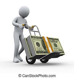 3d man with money hand truck
