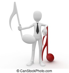 3d man with musical notes