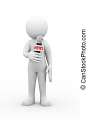 3d man with news microphone announcement