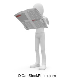 3d man with newspaper