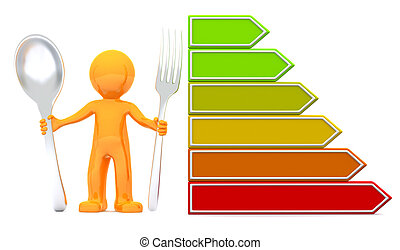 3d man with nutrition scale