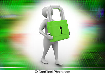 3d man with padlock, security concept