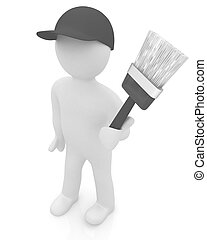 3d man with paint brush