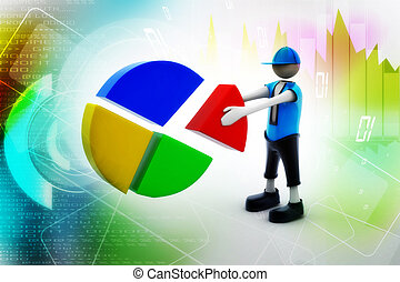 3d man with pie chart