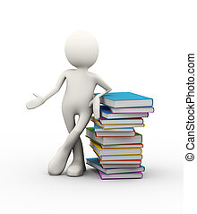 3d man with pile of books