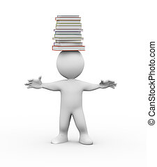 3d man with  pile of books on head