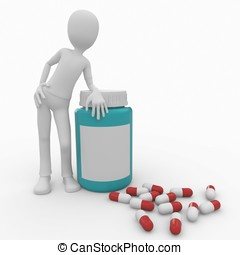 3d man with pills and bottle - 3d man with pills and blue...