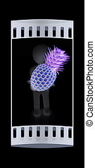 3d man with pineapple. The film strip