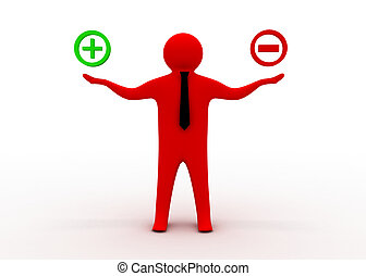 3d man with plus and minus sign