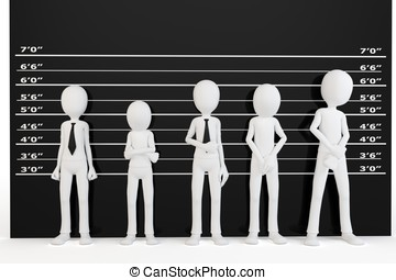 3d man with police lineup wall