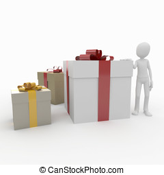 3d man with present boxes