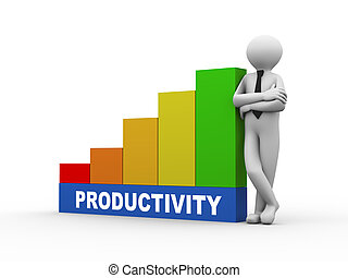 3d man with productivity growing business bars